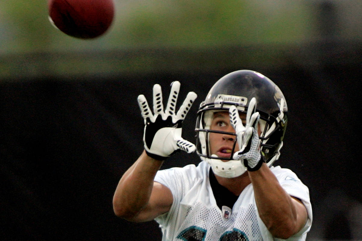 In this Saturday, July 26, 2008 photo, Jacksonville Jaguars receiver Ryan Hoag catches a pass ...