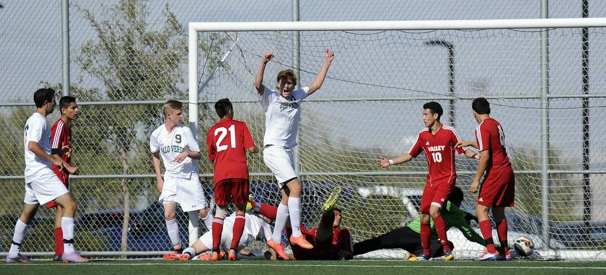 Palo Verde midfielder Erik Karnehed celebrates his winning goal against Valley during the Divis ...