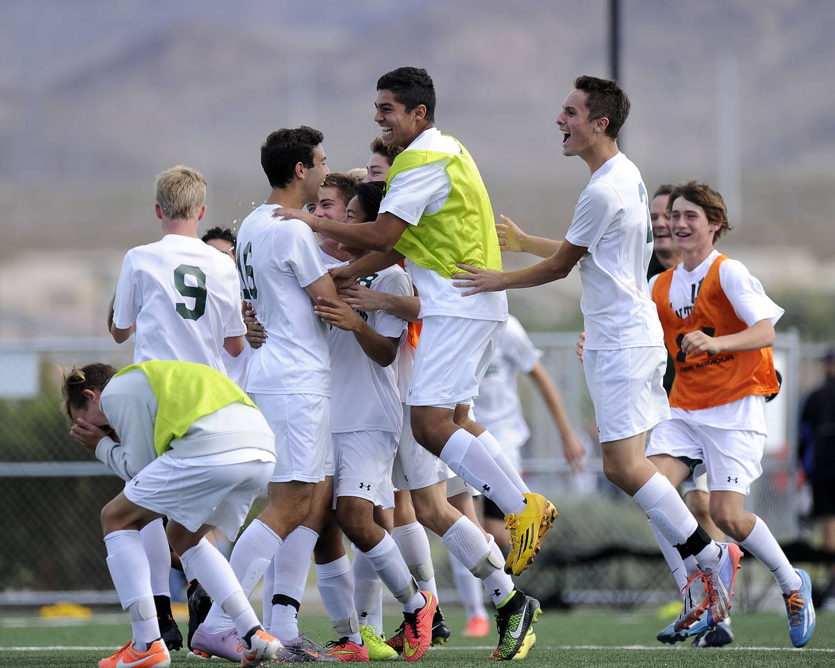 Palo Verde players celebrate their 2-1 victory over Valley in the Division I boys state soccer ...