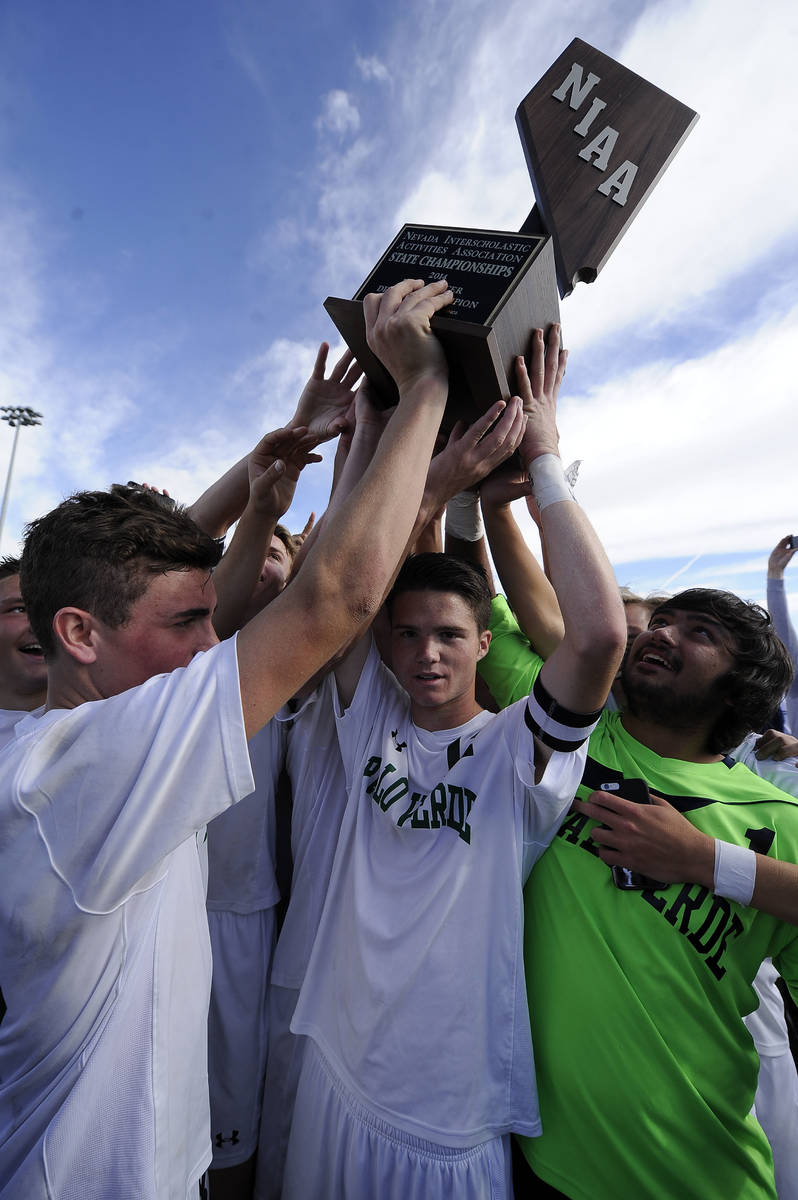 Palo Verde players celebrate their 2-1 victory over Valley during the Division I boys state soc ...