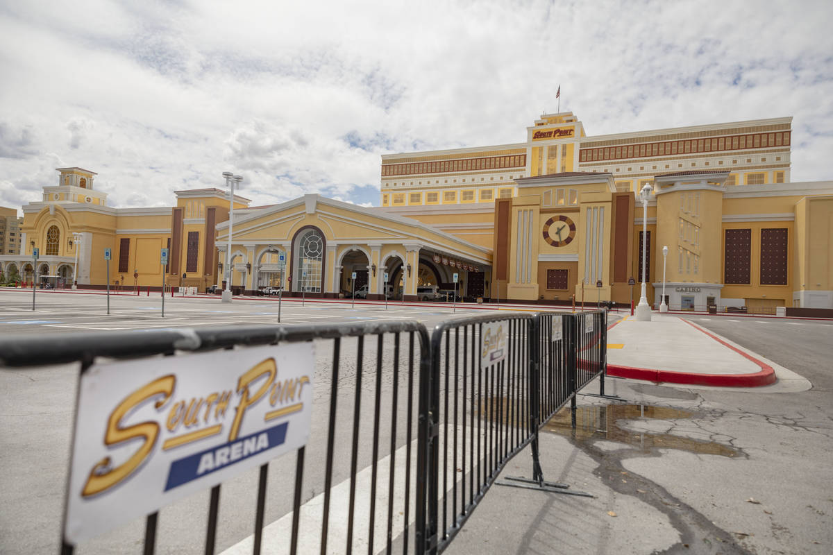 South Point is seen temporarily closed in Las Vegas on Monday, April 20, 2020. (Elizabeth Page ...