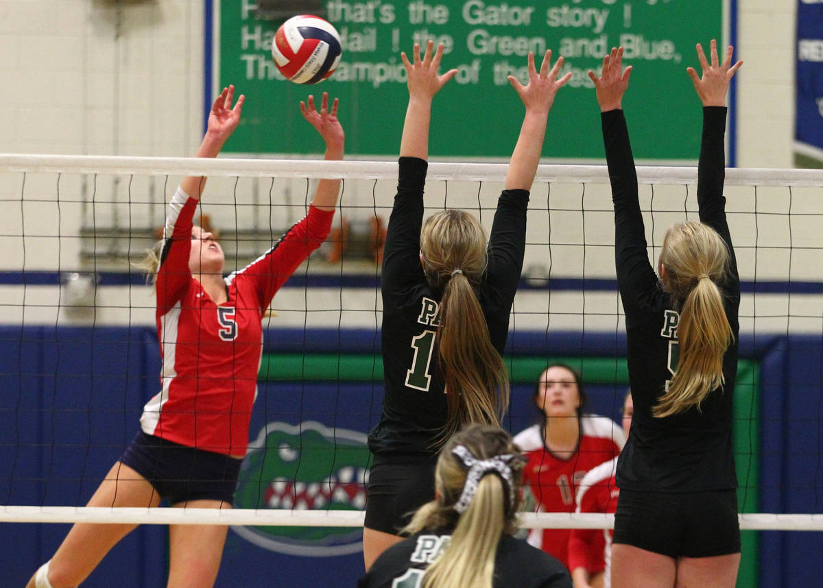 Coronado's Taylor Jackson (5) sends the ball over the net against Palo Verde during the champio ...