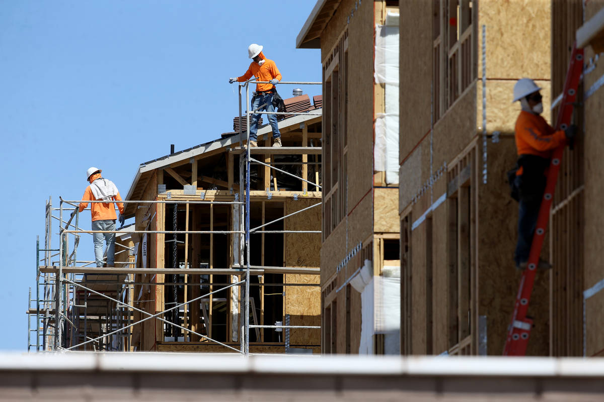 Homes under construction in the master-planned community of Cadence in Henderson Thursday, Apri ...