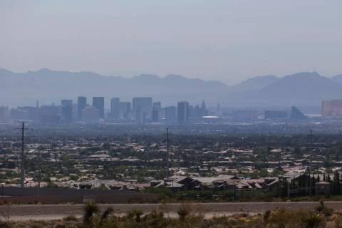 A layer of smog envelops the Las Vegas skyline on Saturday, June 30, 2018. Richard Brian Las Ve ...
