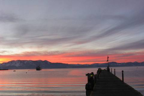 Lake Tahoe is shown at sunset in this undated photo. (Las Vegas Review-Journal file)