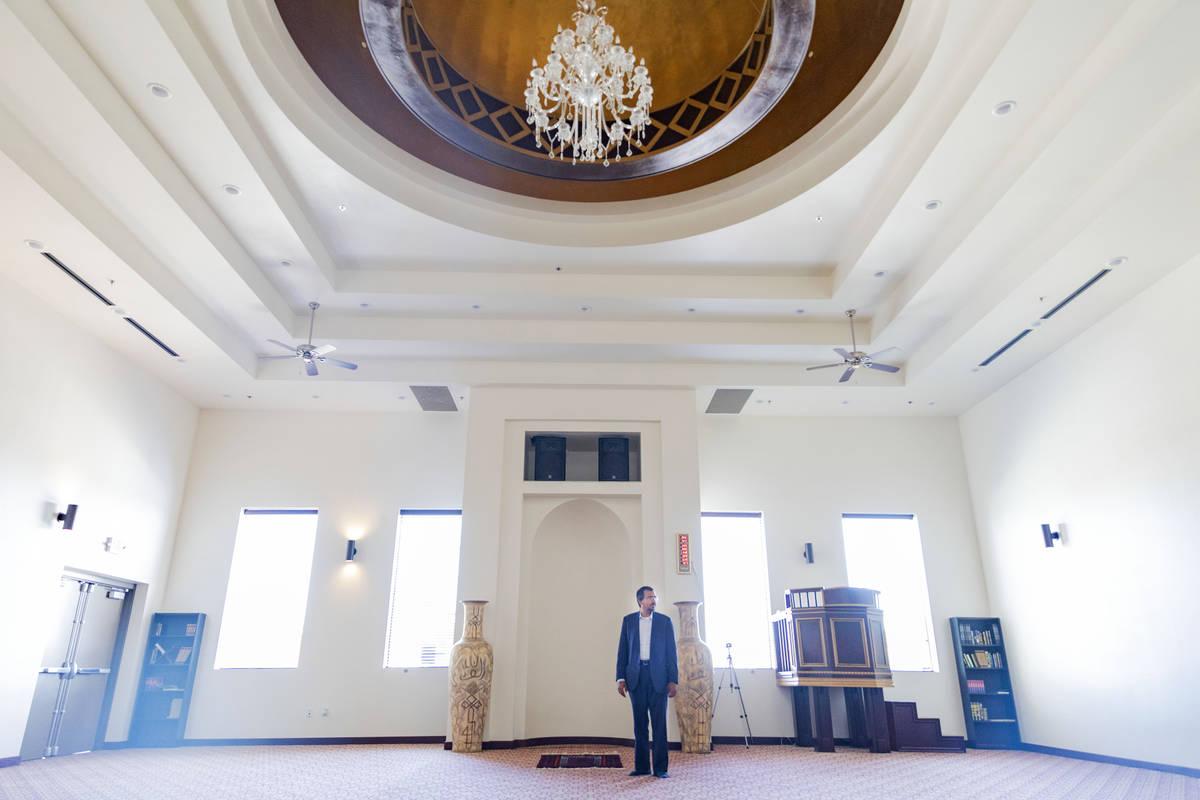 Imam Shamsuddin Waheed shows his prayer rug in the prayer hall inside of Masjid Ibrahim in Las ...