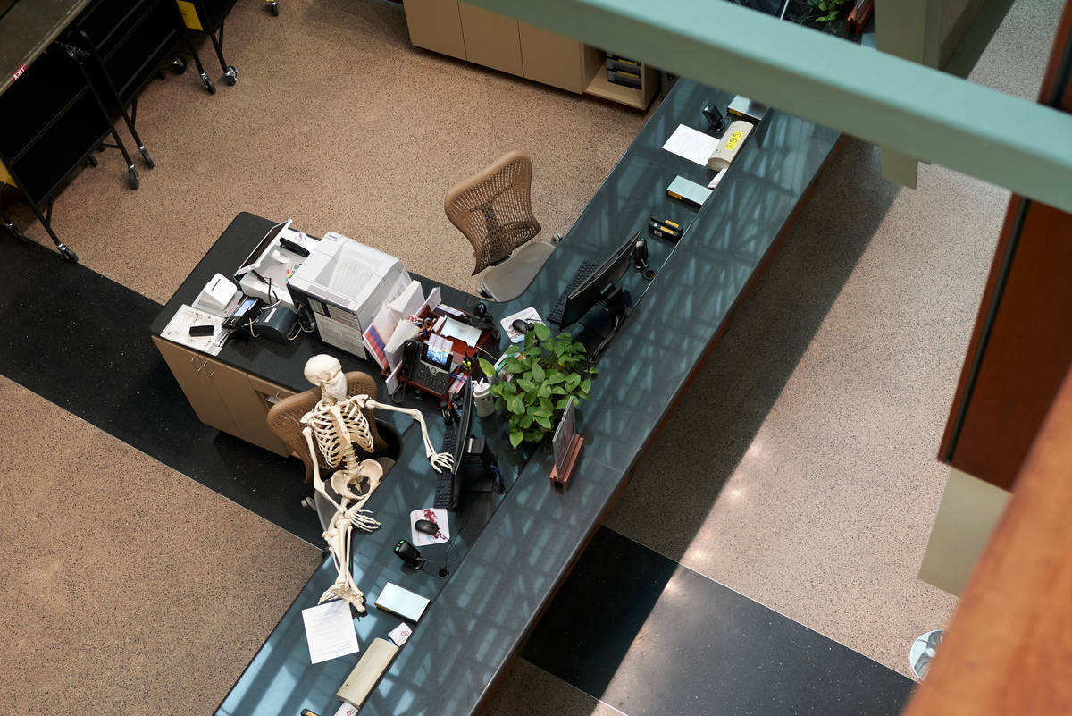 With nobody coming in for books, Mandy's watching Tiger King on Netflix at the Circulation De ...