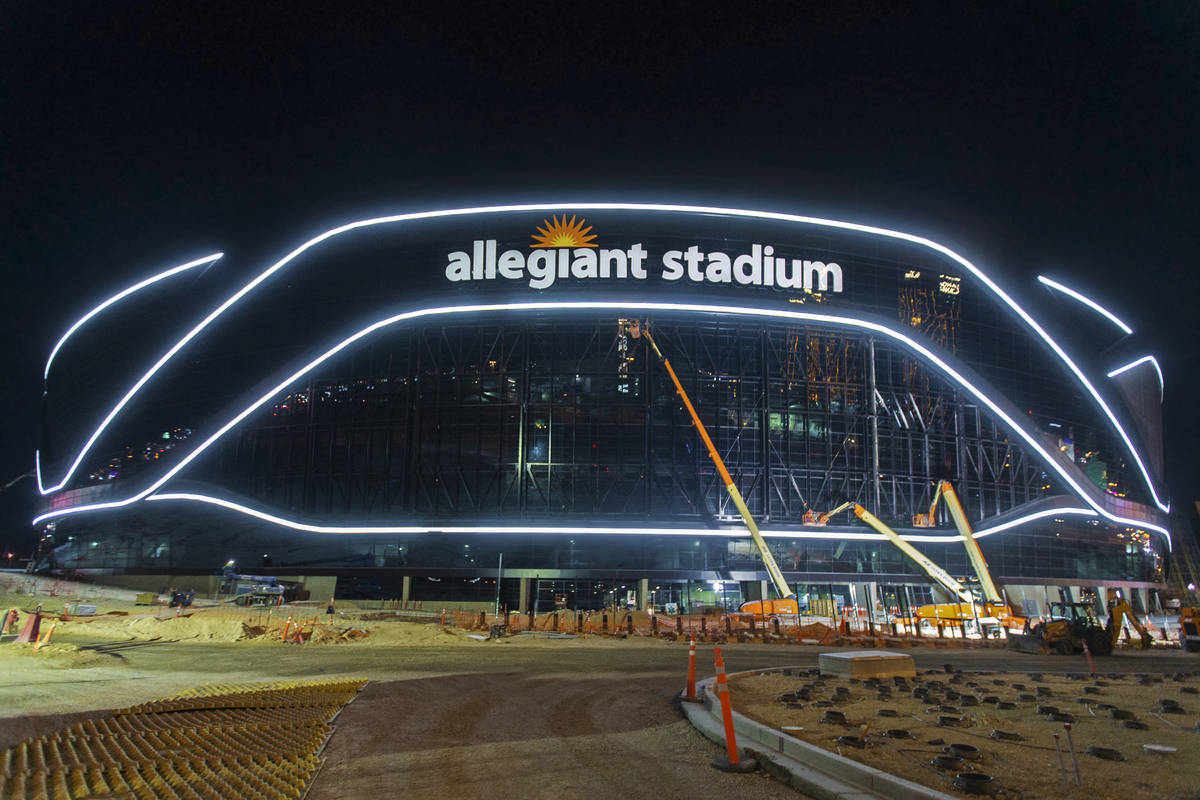 The exterior lights are turned on at Allegiant Stadium on Tuesday, April 21, 2020, in Las Vegas ...