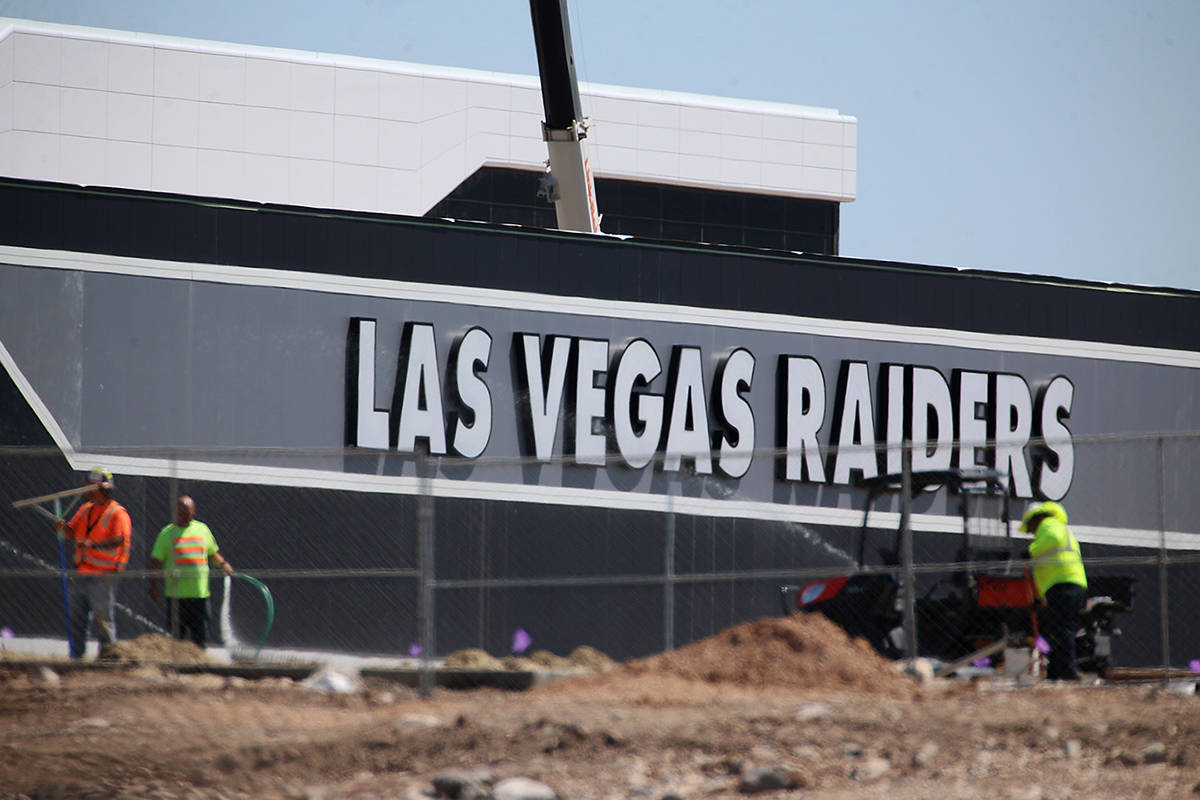The Las Vegas Raiders headquarters and practice facility in Henderson, Wednesday, April 22, 202 ...