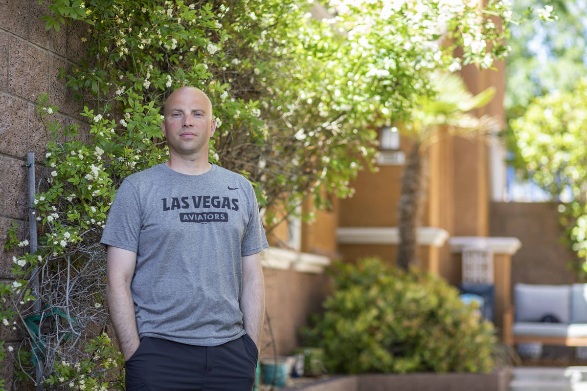 Ben Fisher, a furloughed executive valet lead at Planet Hollywood Resort, poses for a portrait ...