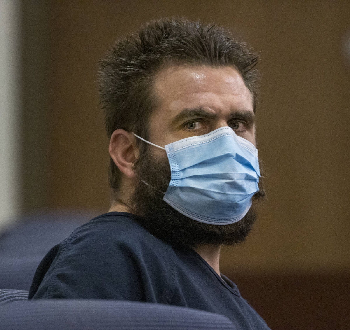 Joshua Nichols during his court hearing at Henderson Justice Court on Wednesday, April 22, 2020 ...