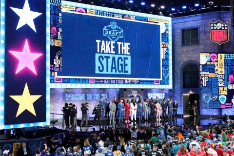 Top college prospects are seen on the stage before the first round of the NFL football draft, i ...