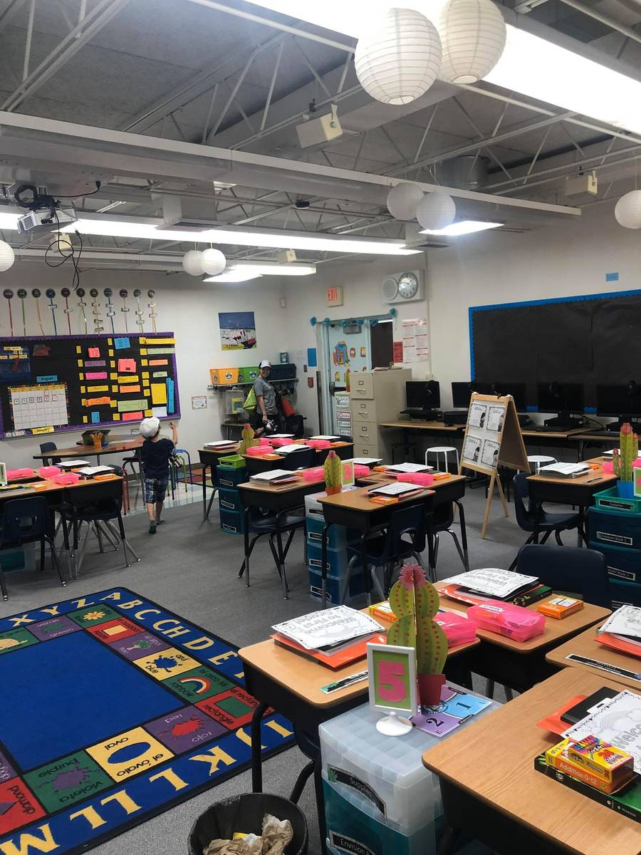 First grade teacher Fernanda Lima Gibson's classroom the week before school started was decorat ...