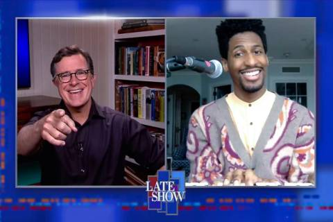 "Stephen Colbert, left, and bandleader Jon Batiste are shown during an episode of ""The Late Show ..."