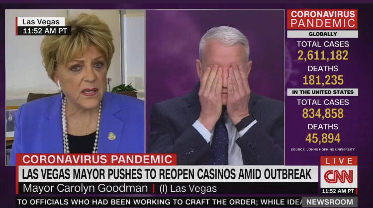 Anderson Cooper reacts to Las Vegas Mayor Carolyn Goodman during their interview Wednesday on C ...