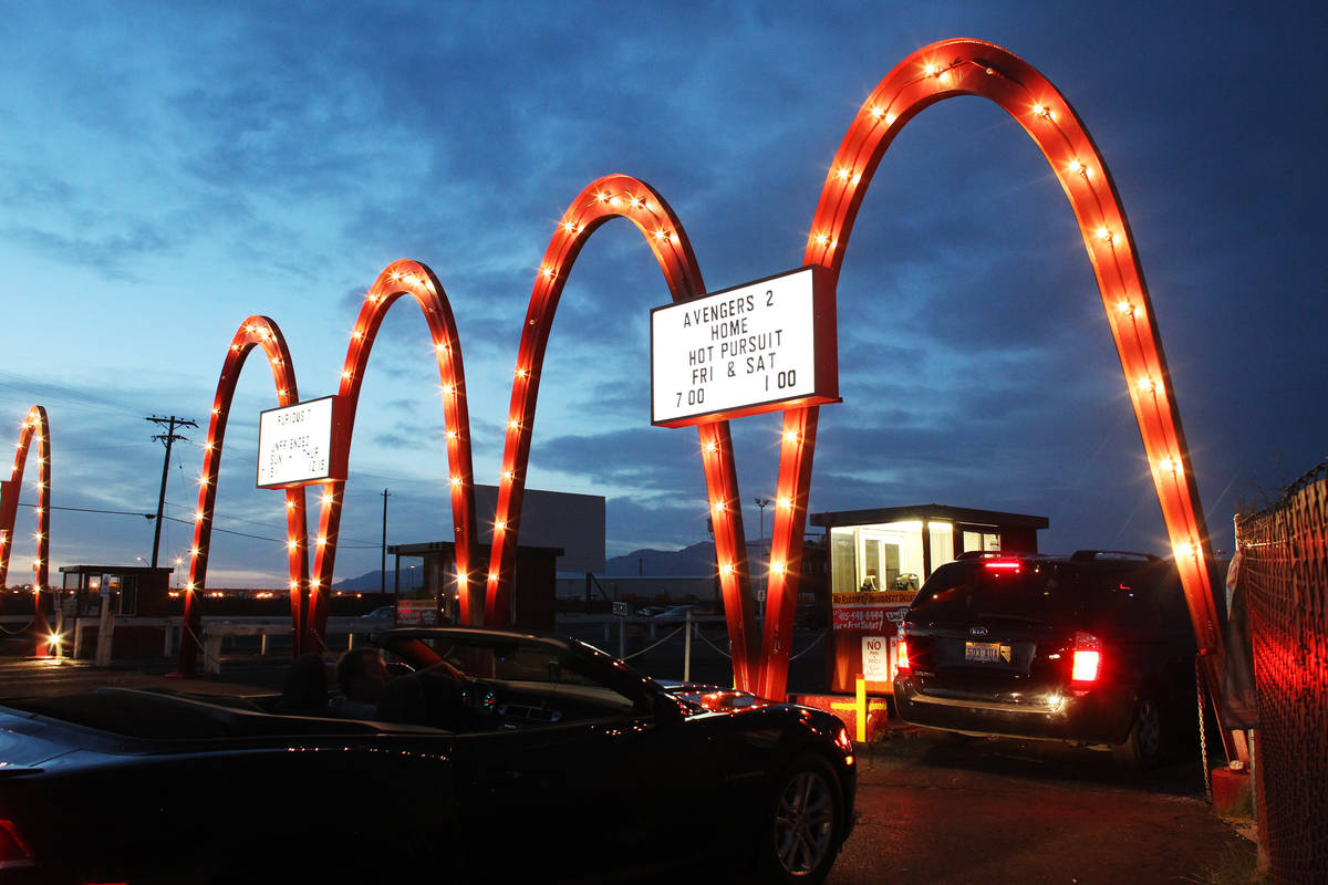 Cars line up for admission at the West Wind Drive-In Tuesday, May 12, 2015. (Review-Journal fil ...