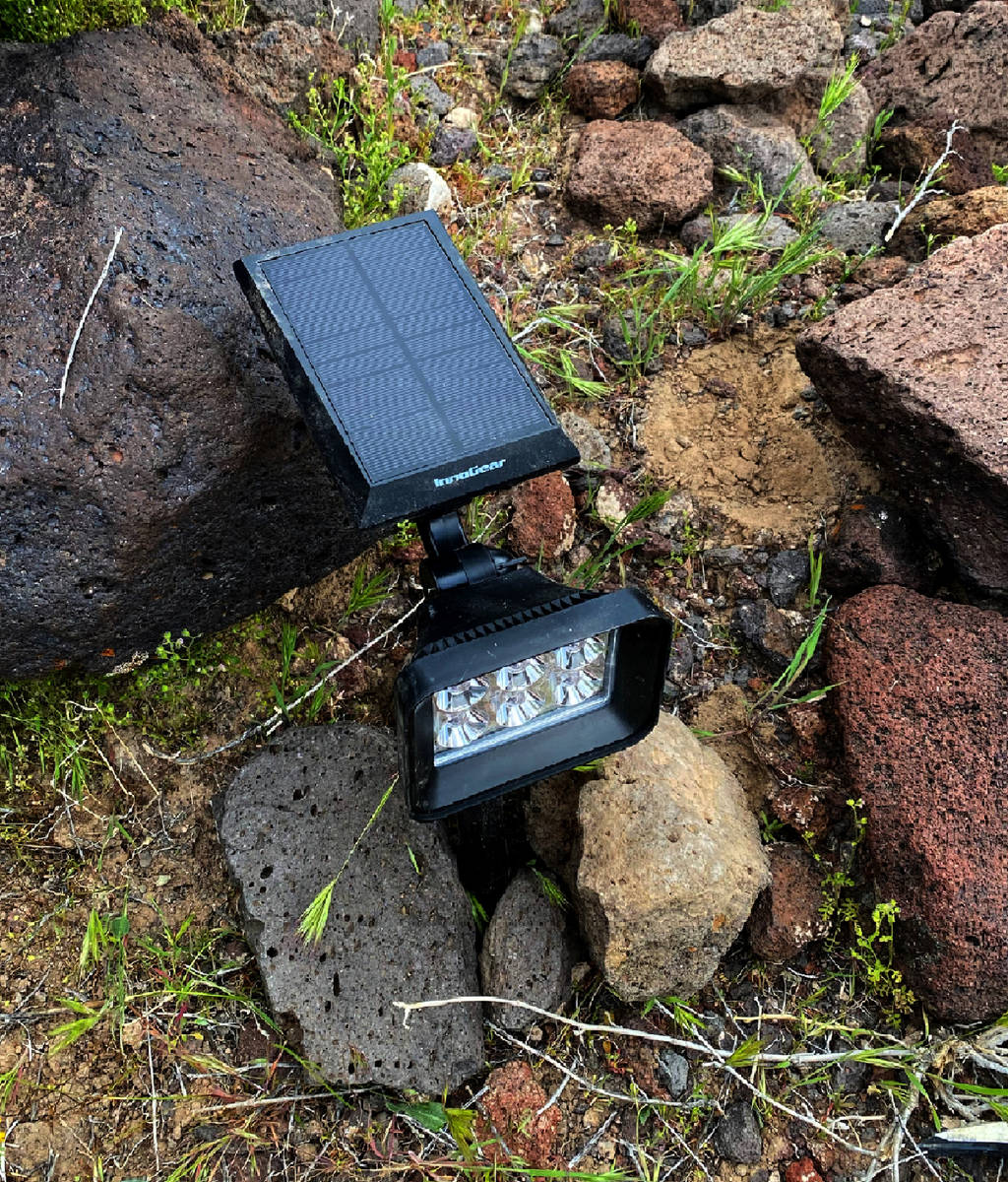 One of the solar lights positioned by David and Mason Koch atop of Black Mountain for their Nev ...