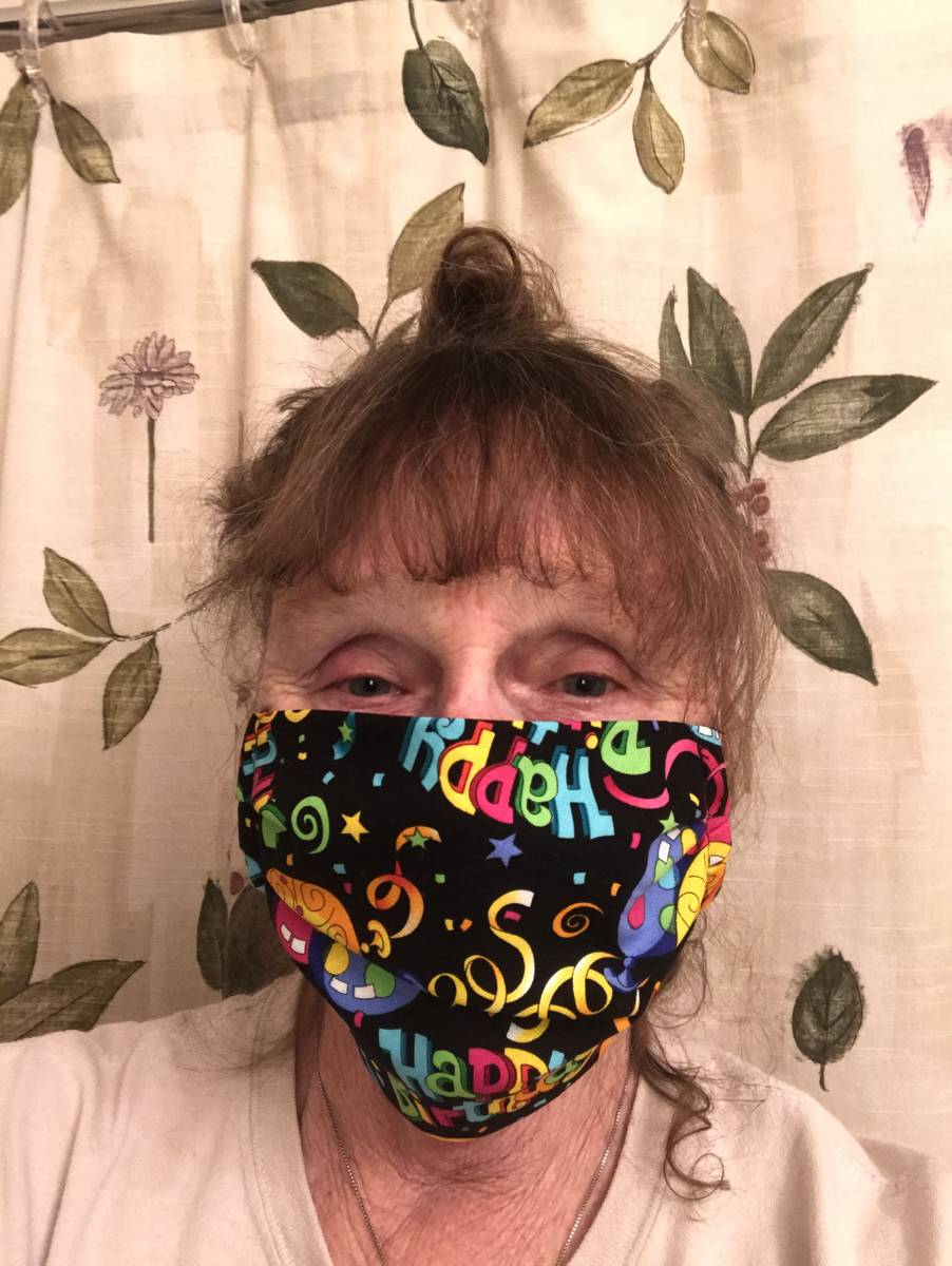 "For her 70th birthday last week, Mary Ann Racheau made a face mask in a ""happy birthday"" pr ..."