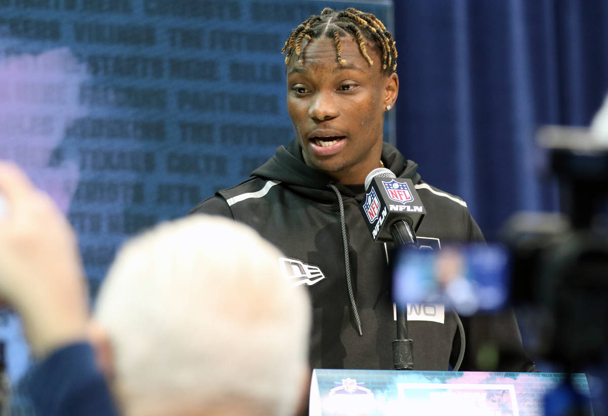 Alabama wide receiver Henry Ruggs III speaks at the NFL scouting combine at the Indianapolis Co ...