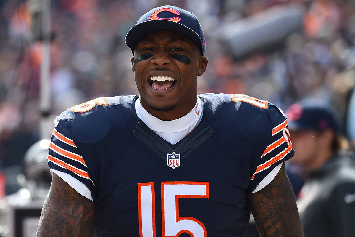 Chicago Bears wide receiver Brandon Marshall in a 2014 game against the Miami Dolphins at Soldi ...