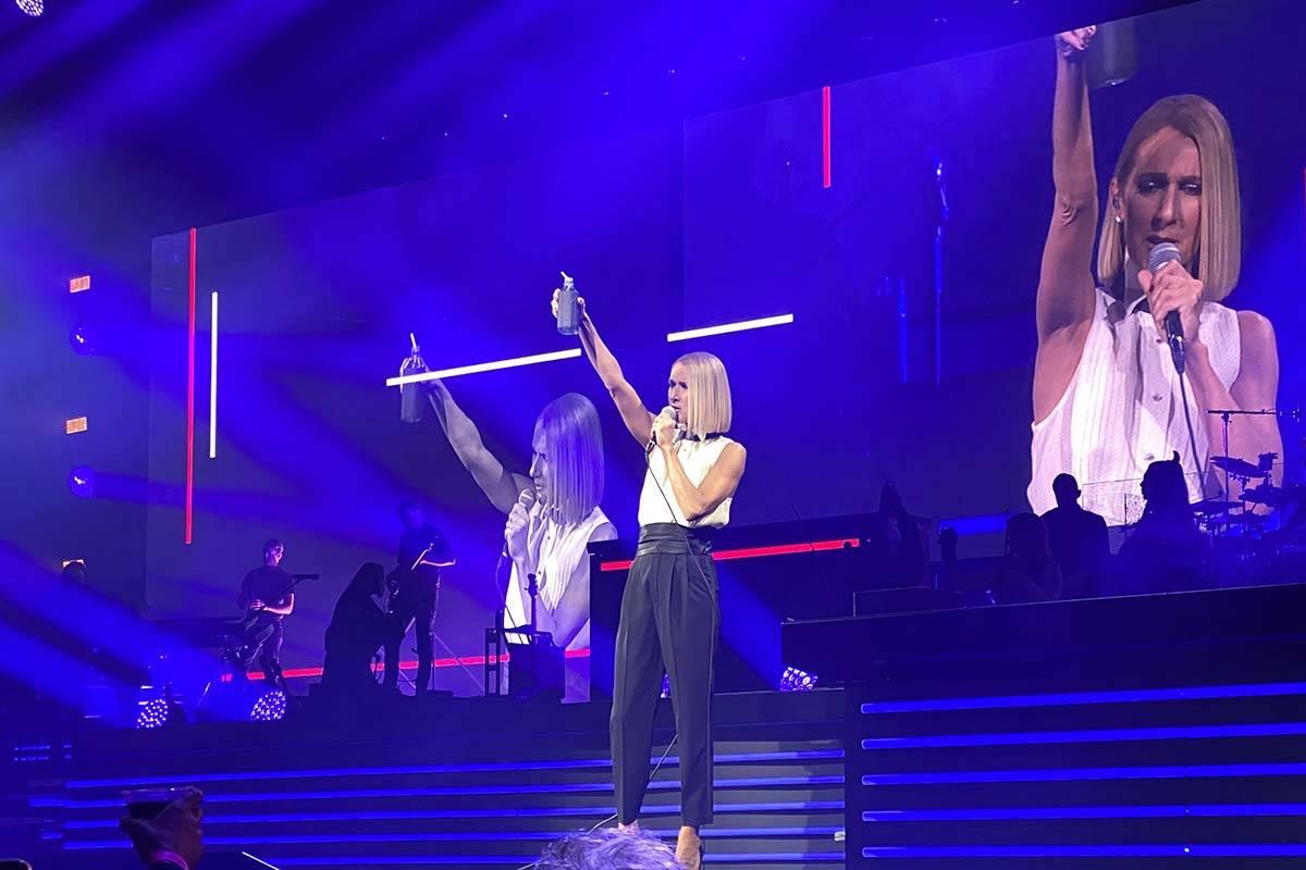 Celine Dion performs at the Bridgestone Arena in Nashville, Tennessee, Jan. 13, 2020. (John Kat ...