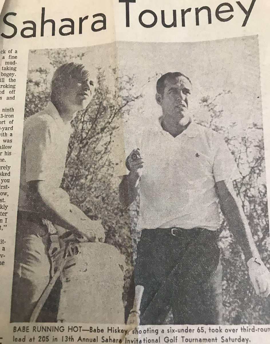 Associated Press columnist tim Dahlerg (left) caddied for Babe Hiskey when he won the 1970 Saha ...
