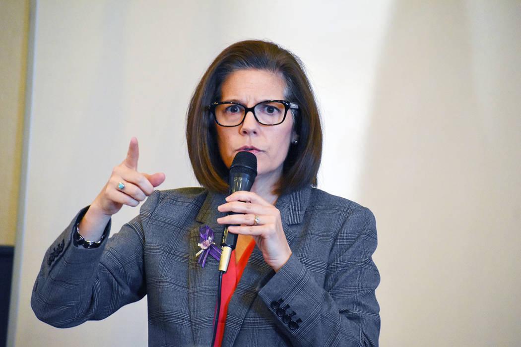 Sen. Catherine Cortez Masto speaking during an event in east Las Vegas. (Frank Alejandre / El T ...