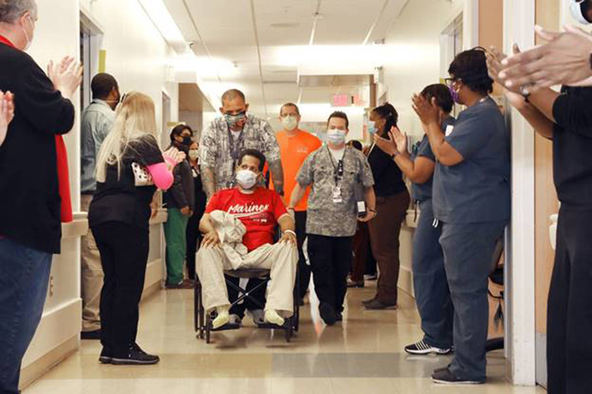 Ronald Pipkins, the first Nevada patient to test positive for COVID-19, leaves the North Las Ve ...