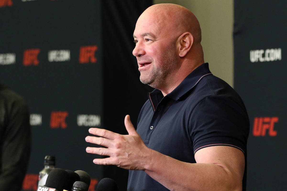UFC president Dana White speaks during a press conference at the UFC Apex in Las Vegas, Tuesday ...