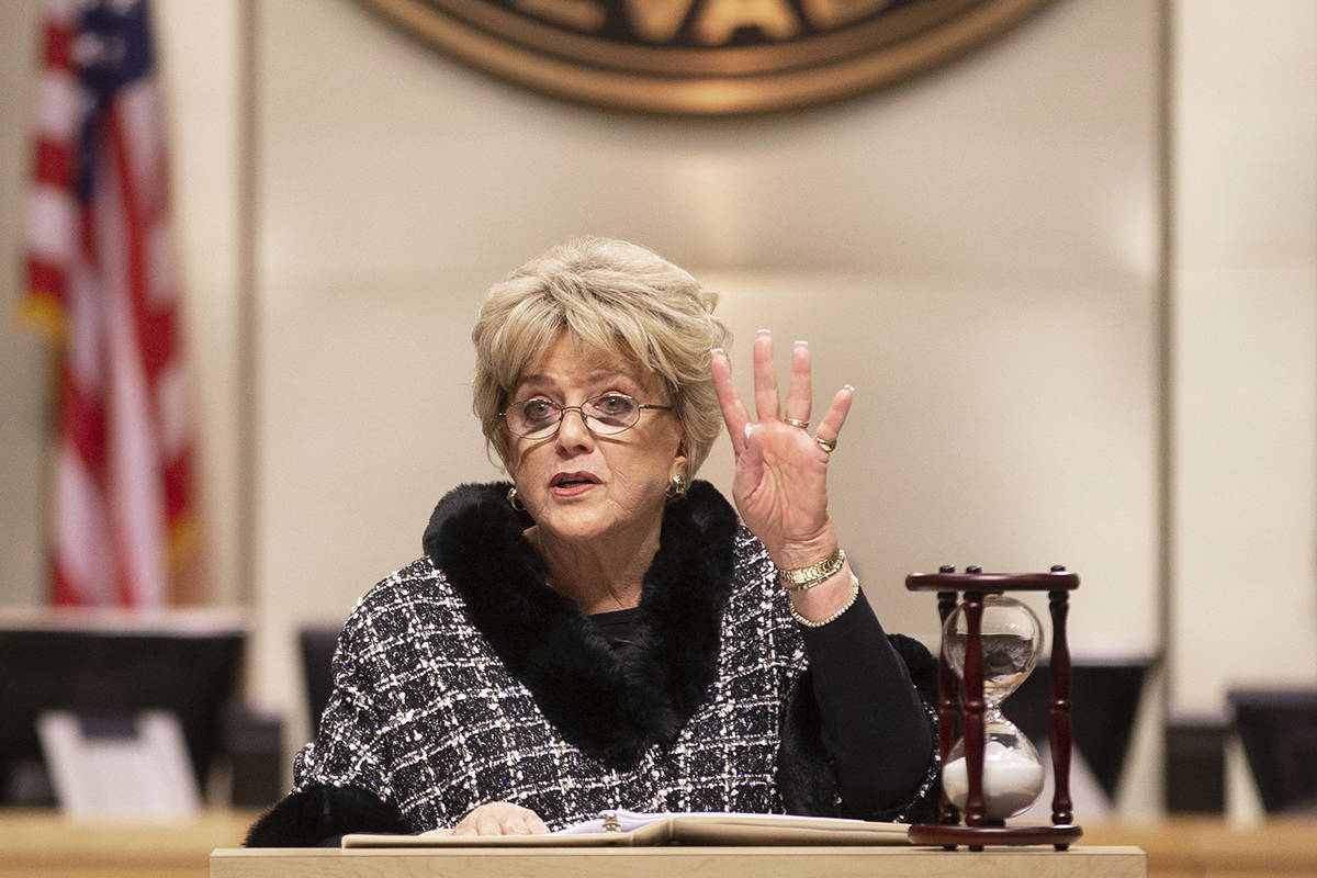 Las Vegas Mayor Carolyn Goodman delivers the annual State of the City address at City Hall Coun ...