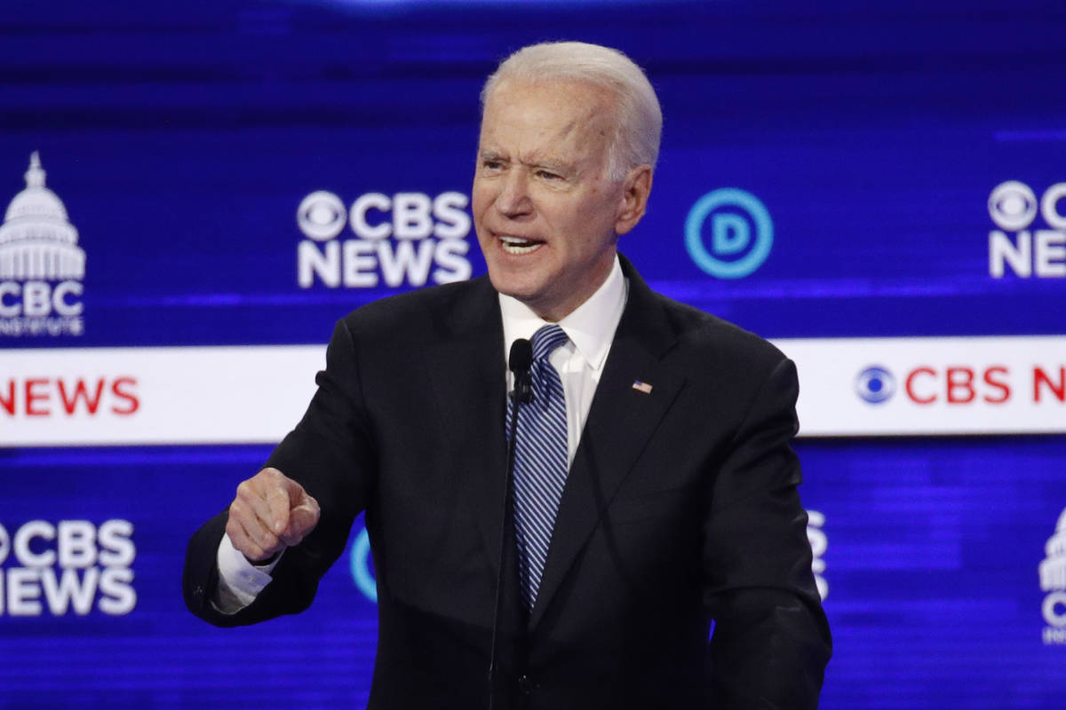In this Feb. 25, 2020, file photo, Democratic presidential candidate Joe Biden speaks during a ...