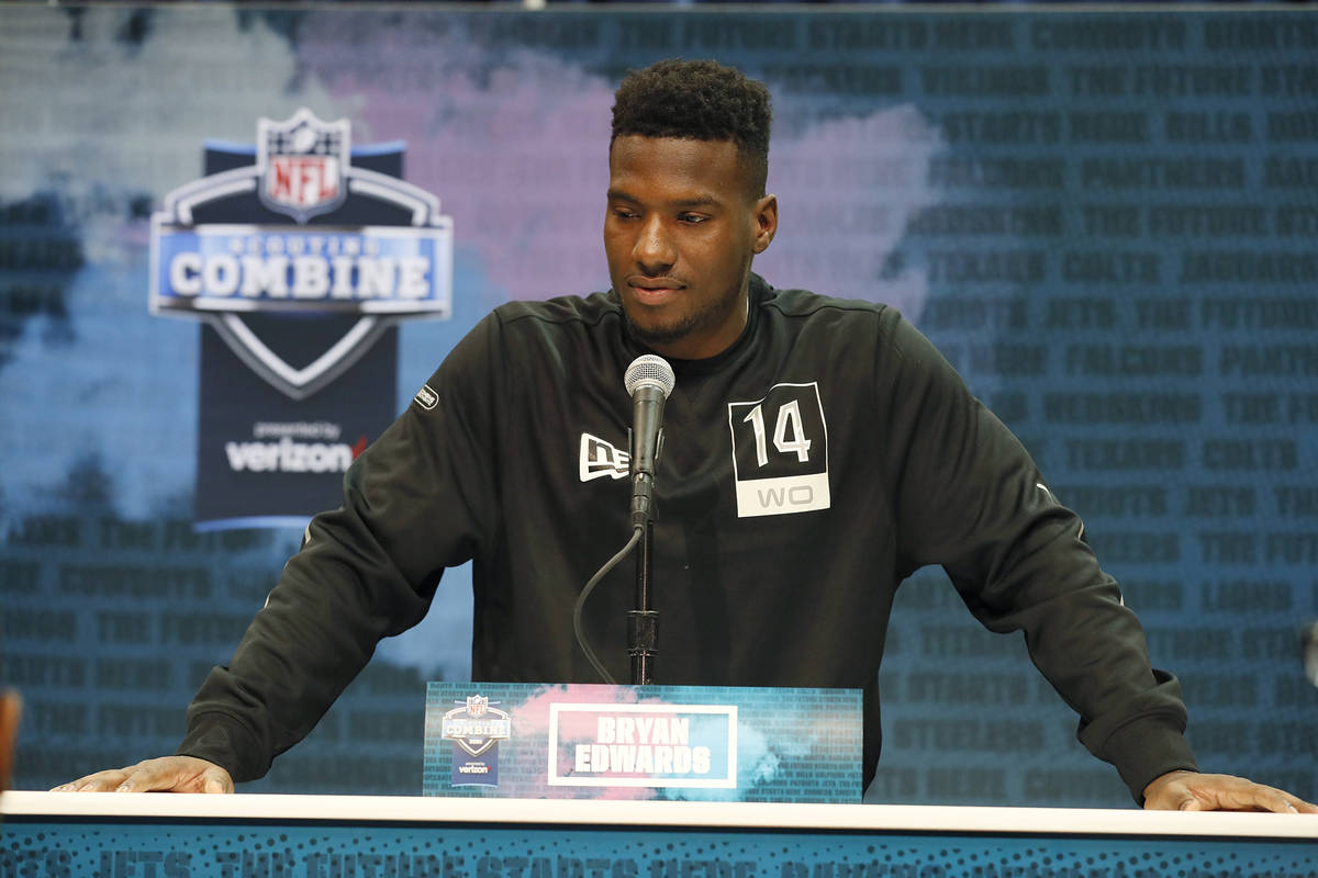 South Carolina wide receiver Bryan Edwards speaks during a press conference at the NFL football ...