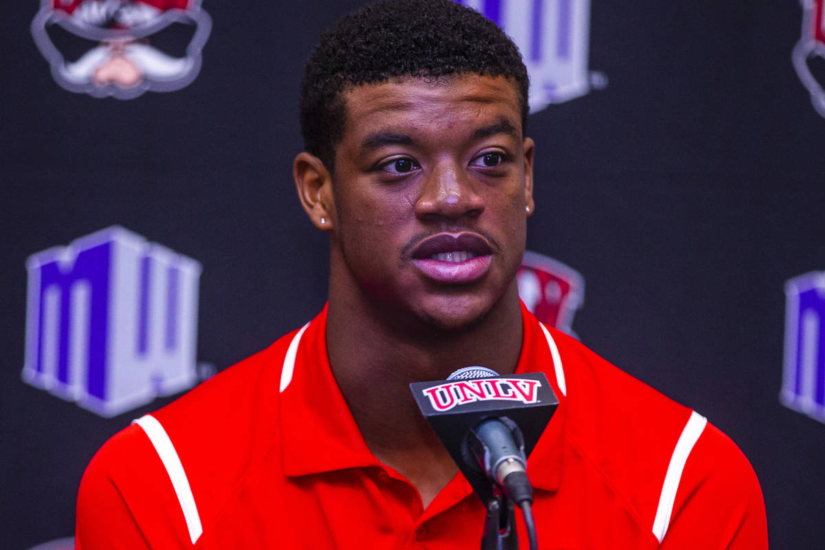 UNLV football linebacker Javin White answers a media question during a press conference on Mond ...
