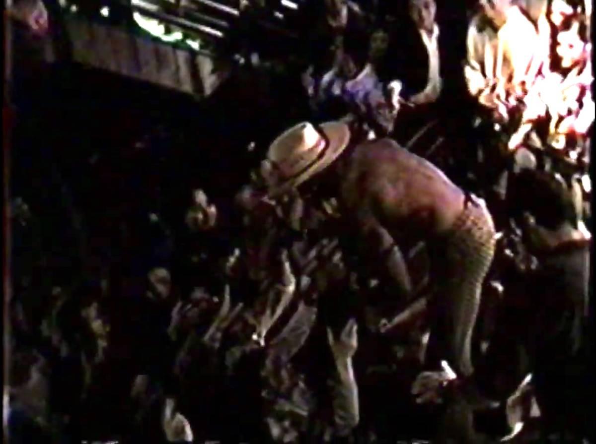A screen grab of a video Dennis Rodman's trip to Beach Nightclub in June 1997. (Mike Ceragioli)