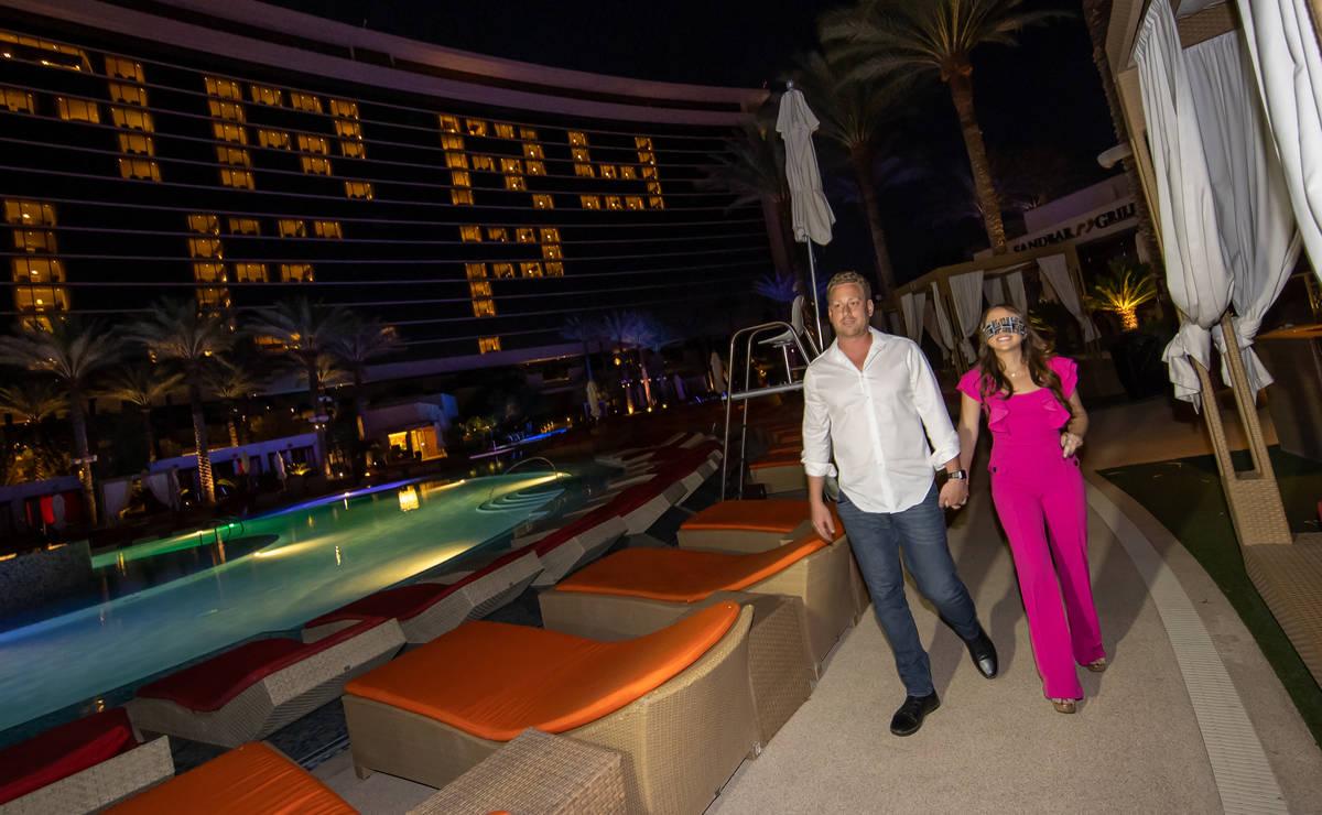 Vegas entrepreneur Kyle Markman escorts Fox 5's Jillian Lopez to his marriage proposal at Red R ...