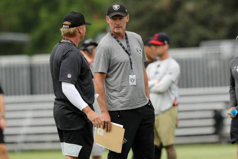 Oakland Raiders head coach Jon Gruden, left, and general manager Mike Mayock meet during the NF ...