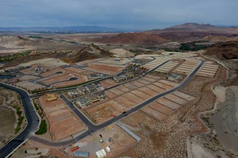 Aerial view of housing construction sites at The Peaks, a new development at Lake Las Vegas, th ...