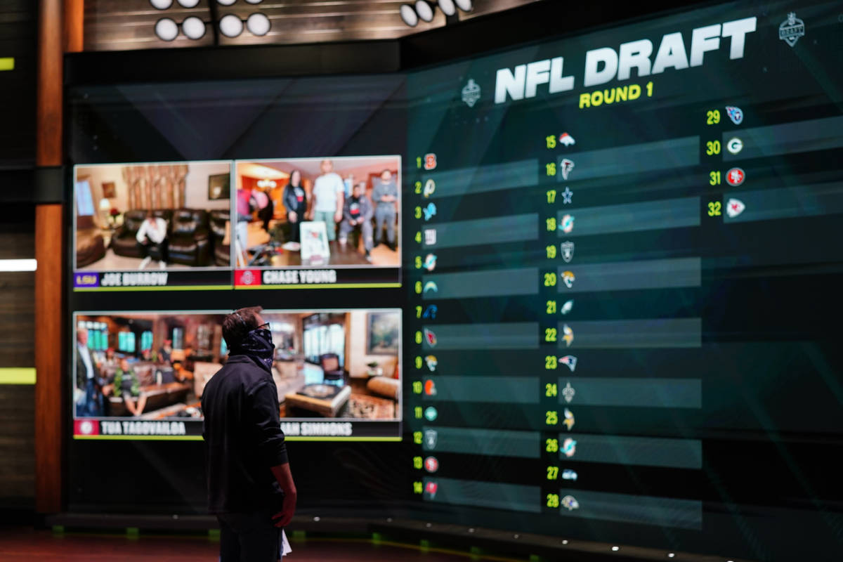 In a photo provided by ESPN Images, the draft board is seen before the start of the NFL footbal ...