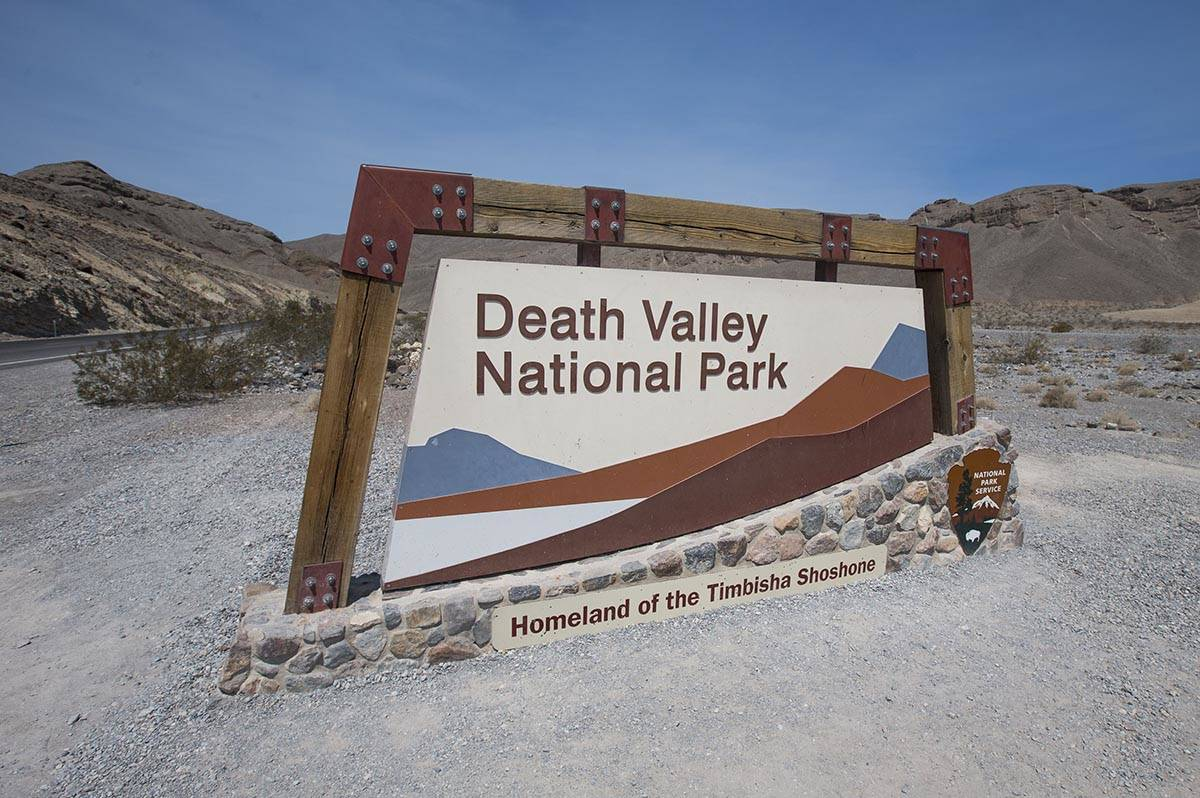 The forecast high for Death Valley National Park is 112 on Tuesday, April 28, 2020. A sign mark ...