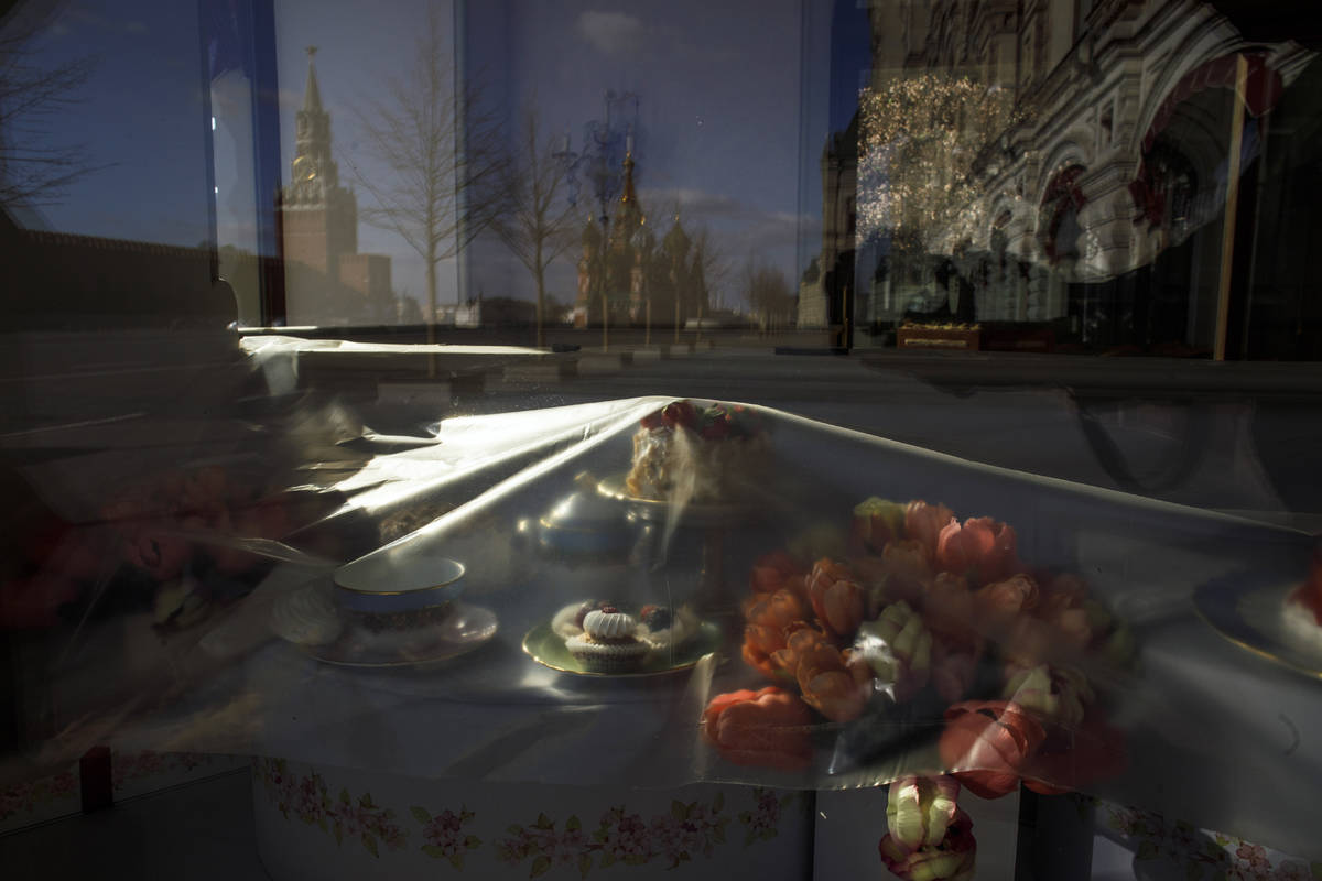 In this photo taken on Wednesday, April 22, 2020, mock-ups of desserts and flowers are covered ...