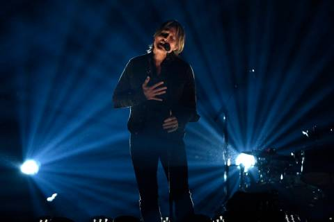 """Keith Urban performs """"Burden"""" at the 54th annual Academy of Country Music Awards at the MGM Gra ..."""