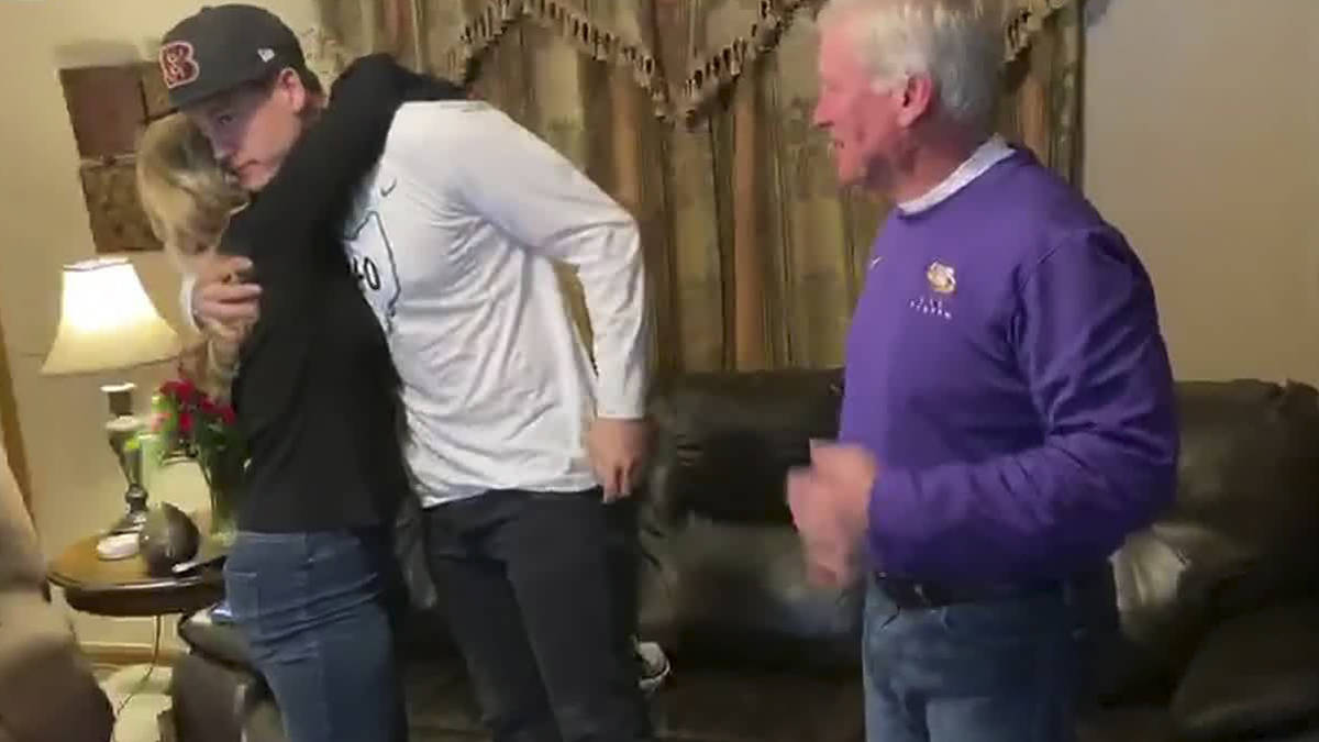 In this still image from video provided by the NFL, LSU quarterback Joe Burrow celebrates being ...