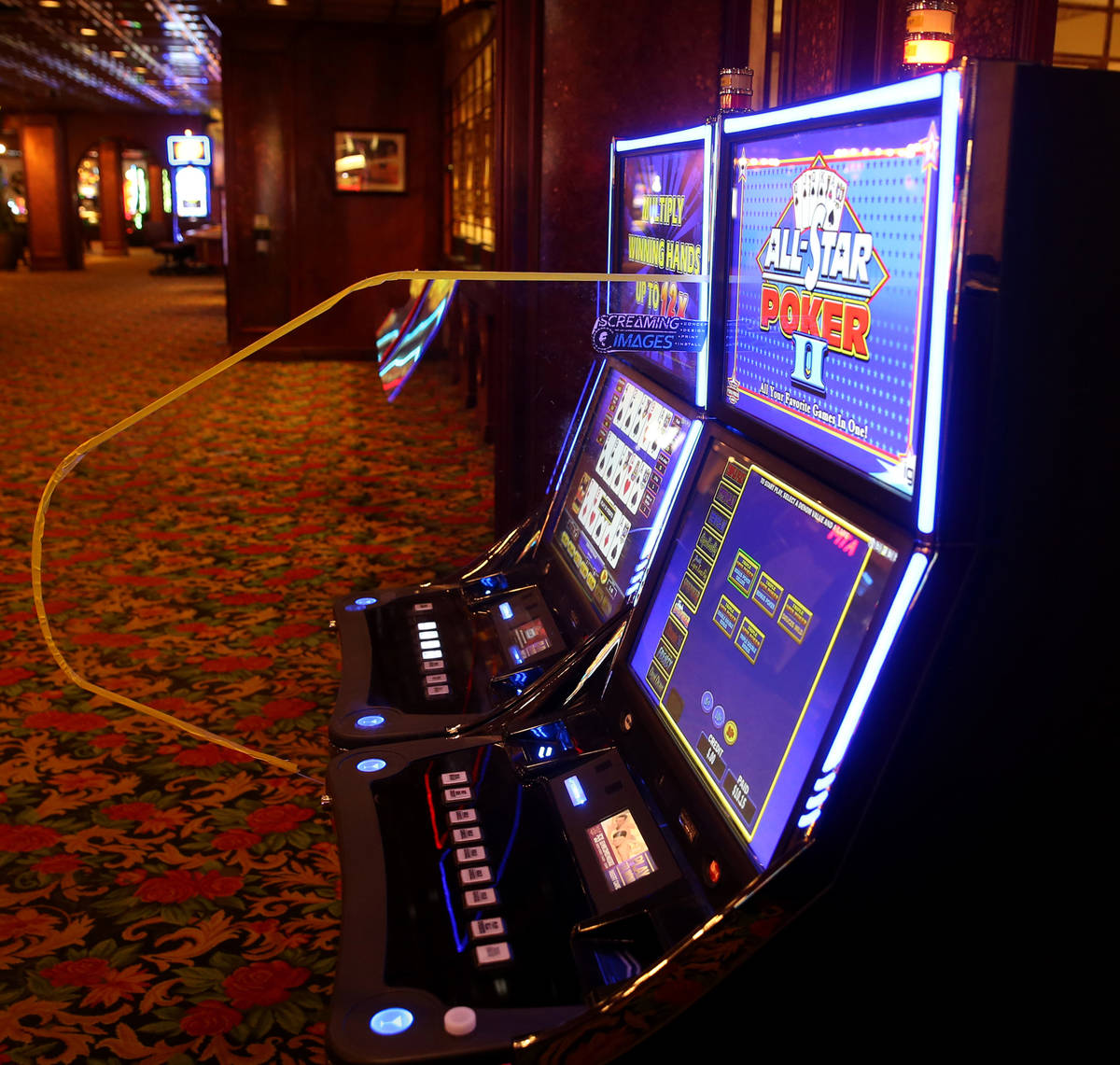 Prototype dividers being tested on machines at the El Cortez in downtown Las Vegas casino Tuesd ...