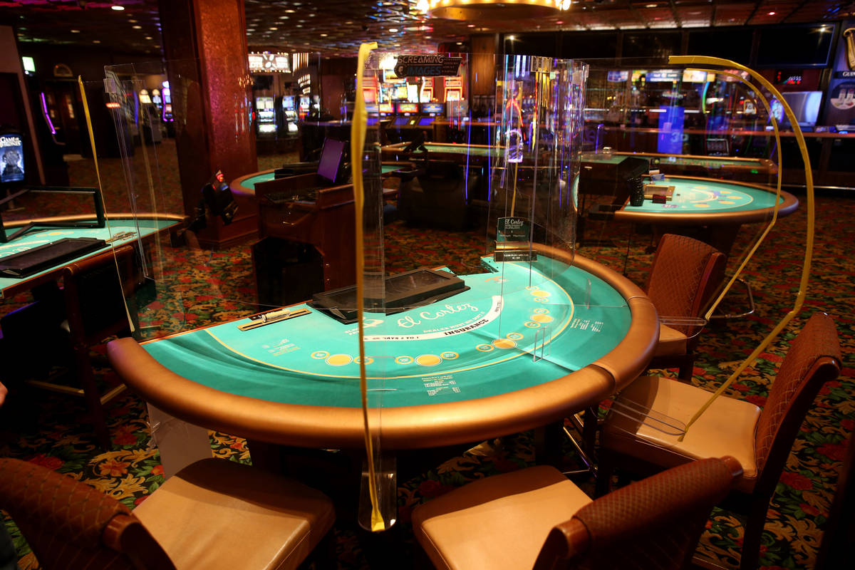 Prototype dividers being tested on a blackjack table at the El Cortez in downtown Las Vegas cas ...