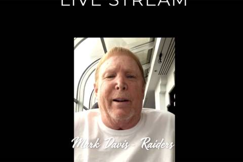 Las Vegas Raiders owner Mark Davis is shown during the Mondays Dark Live Stream Telethon on Mon ...