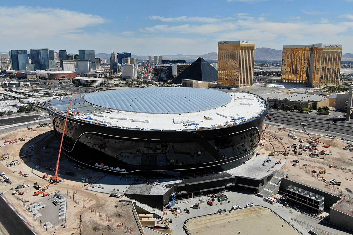 Aerial view of Allegiant Stadium with completed roof panel installation on Friday, April 17, 20 ...