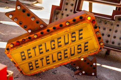 "Art piece ""Betelgeuse Sign"" by Tim Burton in his Lost Vegas art exhibition at the Ne ..."