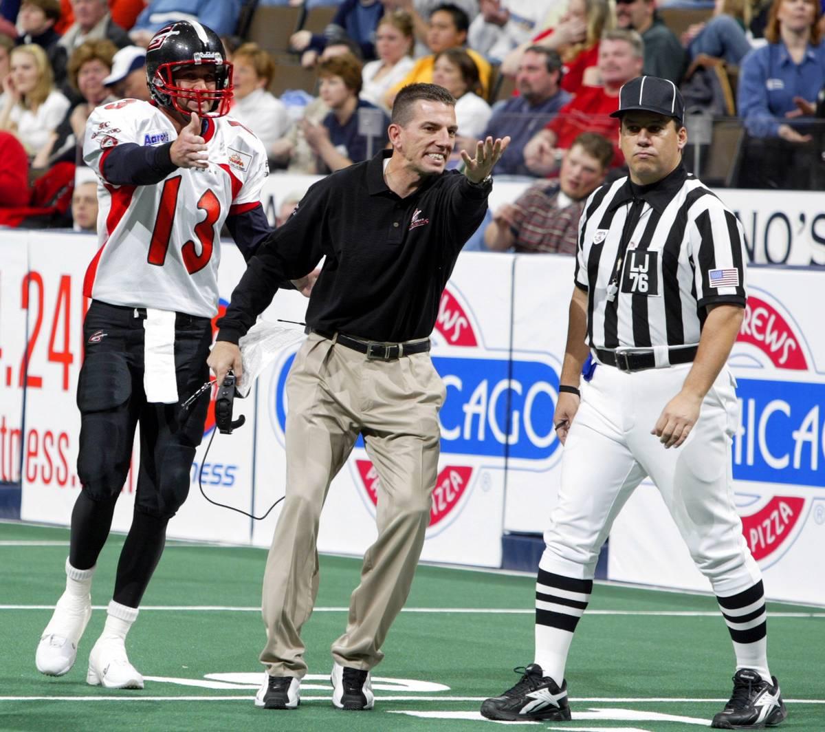 SPECIAL FOR THE LAS VEGAS REVIEW JOURNAL- Las Vegas Gladiators head coach Frank Haege and quart ...
