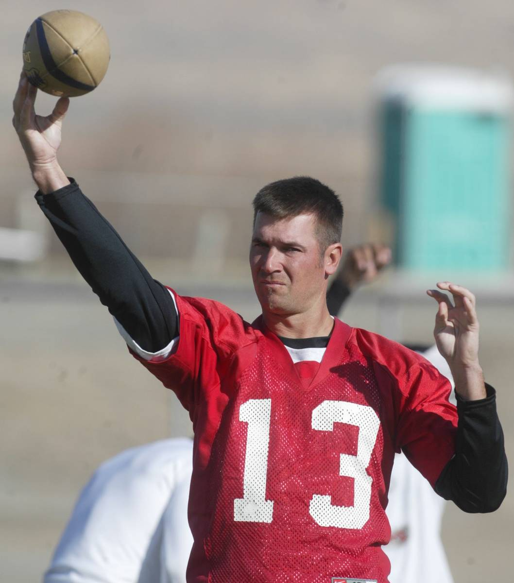 Sports; Football player, QB Clint Dolezel throws the football during the Gladiators morning pra ...