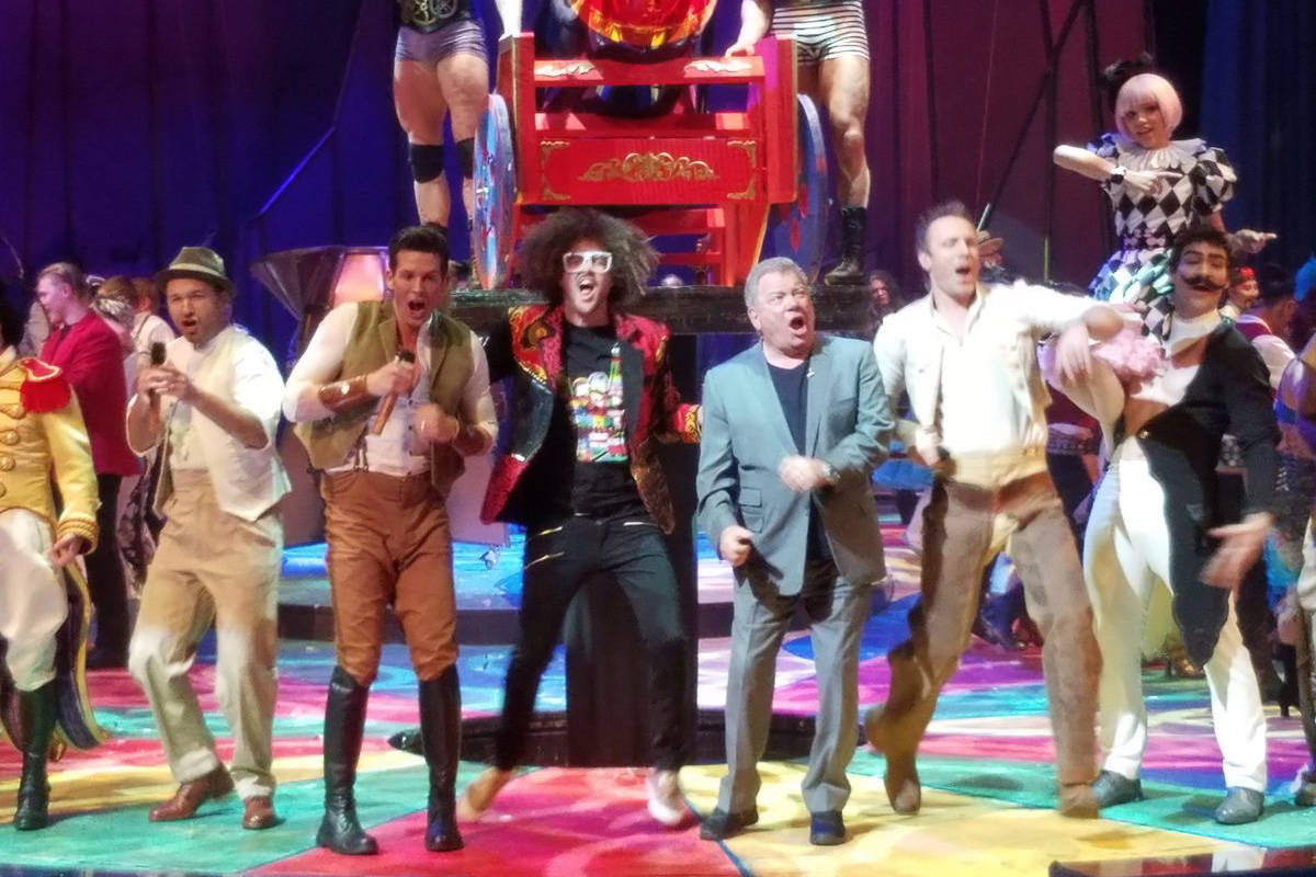 """William Shatner, second from right, performs during the finale of """"One Night for One Drop"""" at N ..."""
